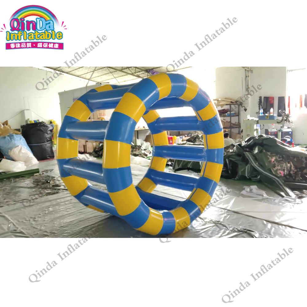 Funny water sport game inflatable water roller ,1.5mx2m inflatable water floating wheel with air pumpFunny water sport game inflatable water roller ,1.5mx2m inflatable water floating wheel with air pump
