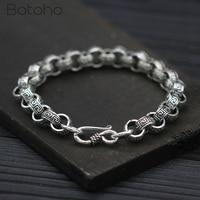 925 Sterling Silver Men Bracelets Punk Vintage Charm Rough Pattern Chain Bracelet Bangle Christmas Birthday Gifts Free Shipping