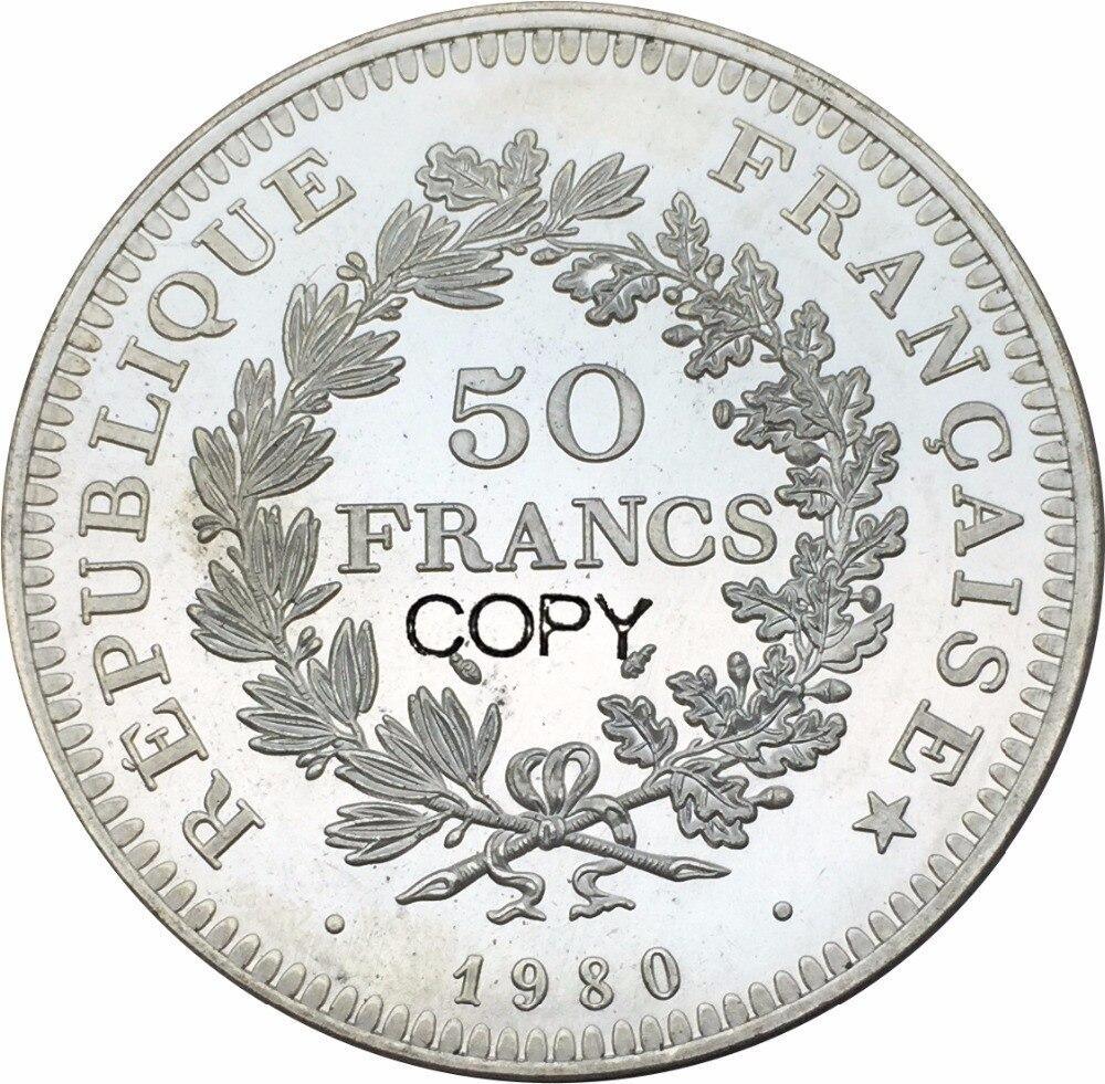 1980 Francos France 50 Hercules Latão Banhado A Prata Moedas Cópia