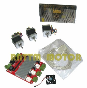 3 axis CNC stepper kit 3pcs NEMA17 78oz-in stepper motor 4 Leads + 3 axis TB6560 CNC driver interface board for CNC Router