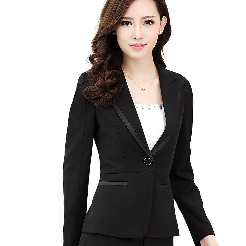 Two Pieces Pant Suits Slim Work Wear Women Trouser Jacket OL Formal Blazer Set Office Lady Business Suit Female