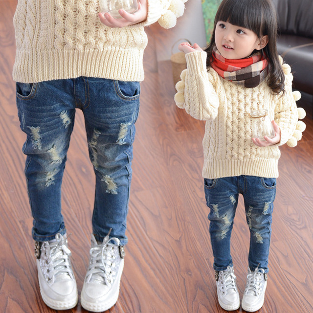 Spring Spring and Autumn New Hole Jeans Girl Children Baby Old Pants Denim Pants Tide 2-7 8 Ages  3t Jeans Girls Ripped Jeans 1