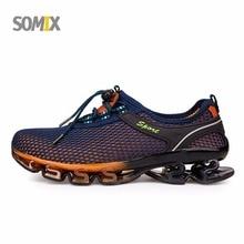 Verano estilo somix ultraligero amortiguación zapatos corrientes para los hombres de recorrido libre de las zapatillas de deporte 2017 slip-on transpirable hoja de suelas de deporte zapatos