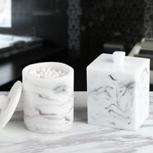 Скандинавские Креативные Круглые смолы мраморная текстура ватные палочки коробка для дома гостиная зубочистка коробка настольная Двойная Сетка Коробка для хранения