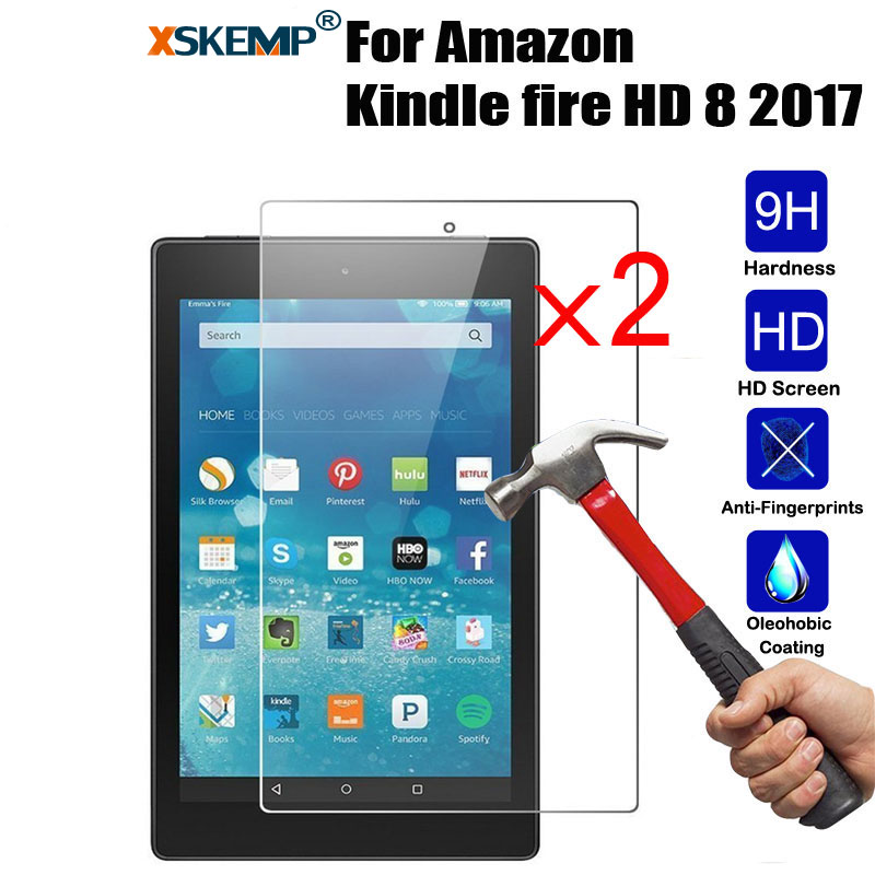 XSKEMP 2Pcs/Lot 9H Real Tempered Glass For Amazon Kindle Fire HD 8 2017 8.0 Ultra Thin Transparent 0.3mm Tablet Screen Protector