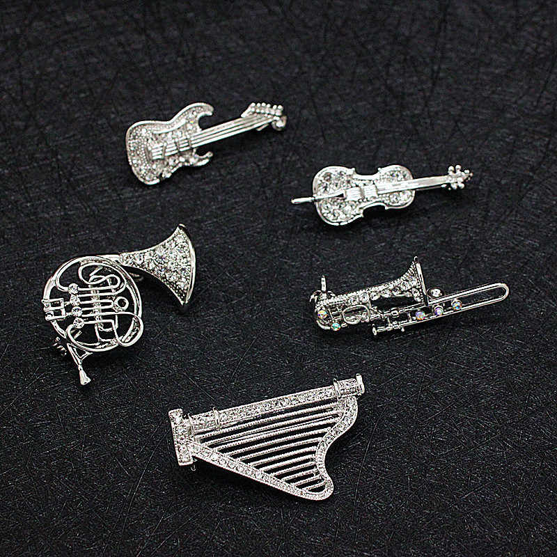 Musical instruments brooch pin sax Violin harp Trombone gitar musian note concert keepsakes brooch jewelry