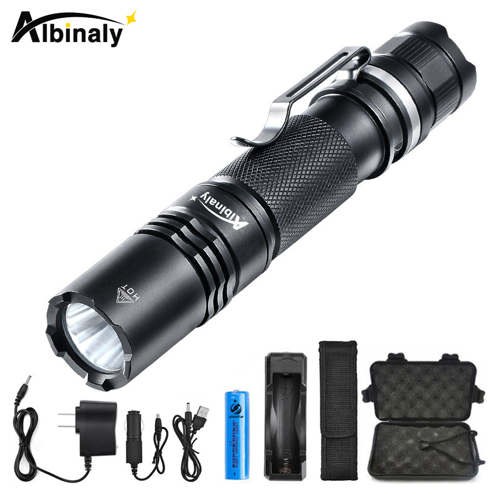 цена на Albinaly Ultra Powerful LED Tactical Flashlight CREE XM-L2 8000 Lumens Torch Powered by 18650 Rechargeable Battery