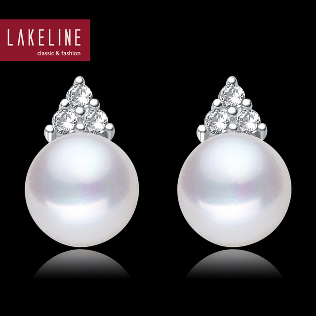 Clic Crystal White Pearl Earrings Cz Jewelry 8mm Ivory Real Cultured Stud