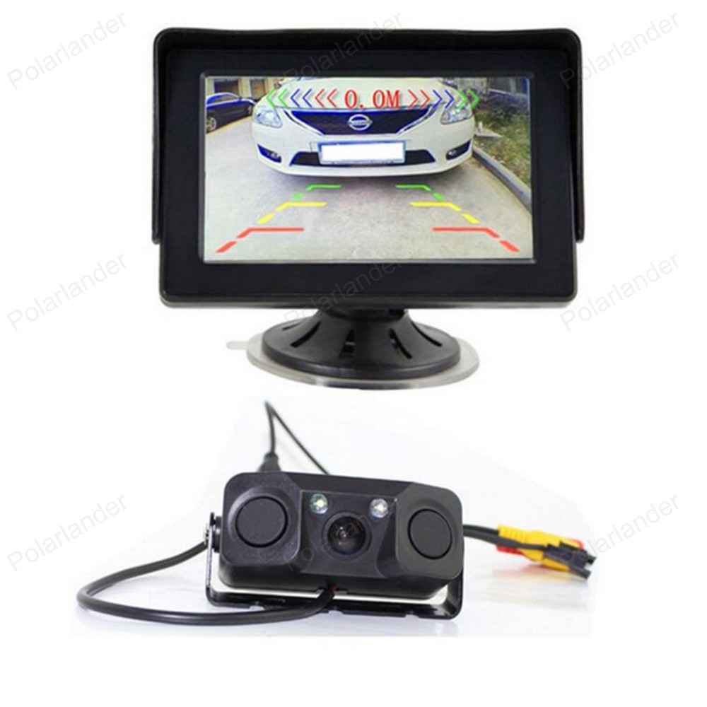 4.3 TFT LCD Rearview Car Monitor + Auto Video Parking Sensor With Rear View Camera Vehicle Driving Accessories