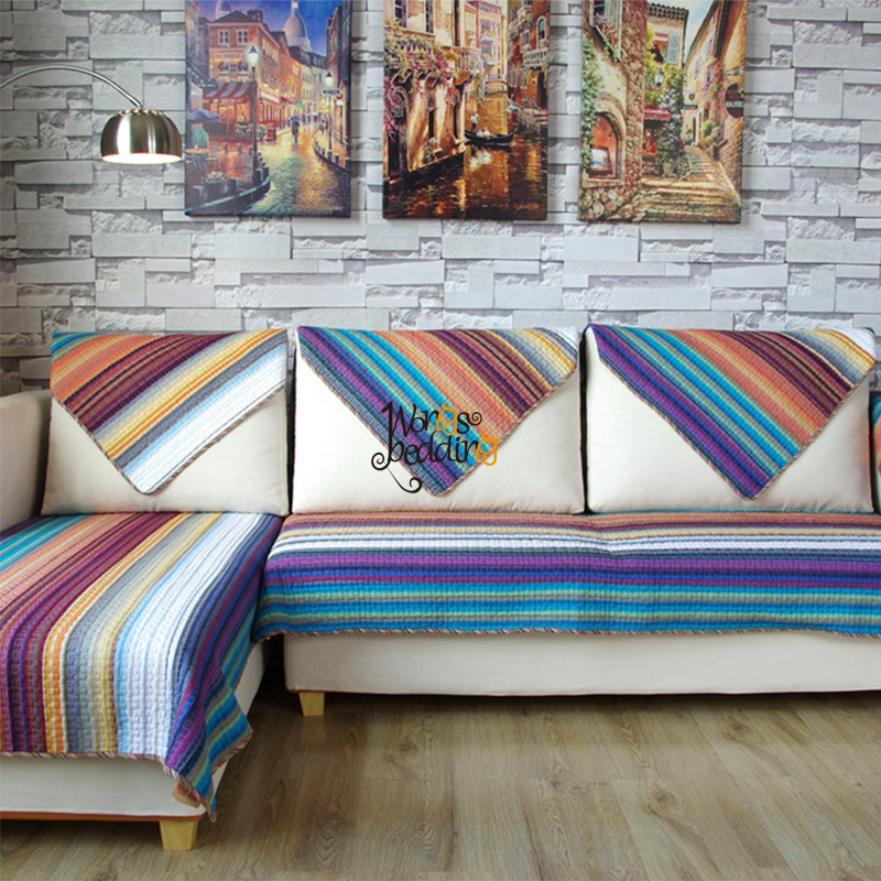1piece Cotton Fabric Sofa Cover Color Stripe Printing Soft Modern Slip  Resistant Sofa Slipcover Seat Couch