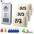 4,3 дюймов 3 квартиры/семьи видео домофон системы RFID IR-CUT HD 1000TVL камера дверной Звонок камера с 3 кнопками монитор