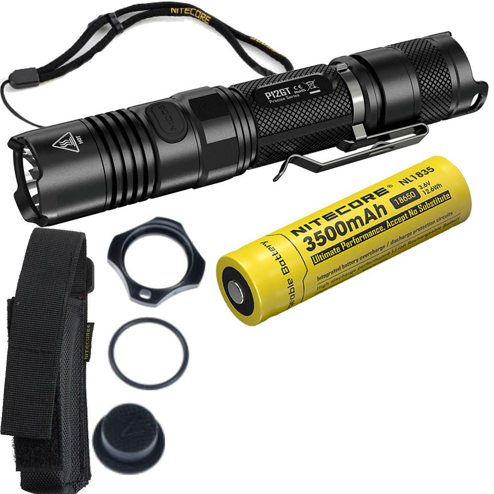NITECORE 1000 Lumens CREE XP-L HI V3 LED P12GT Tactical Flashlight Without 18650 Battery 7 Modes Pocket EDC + 3500mAh battery nitecore p12gt cree xp l hi v3 1000 lumens led flashlight for gear military rechargeable led tactical flashlight torch