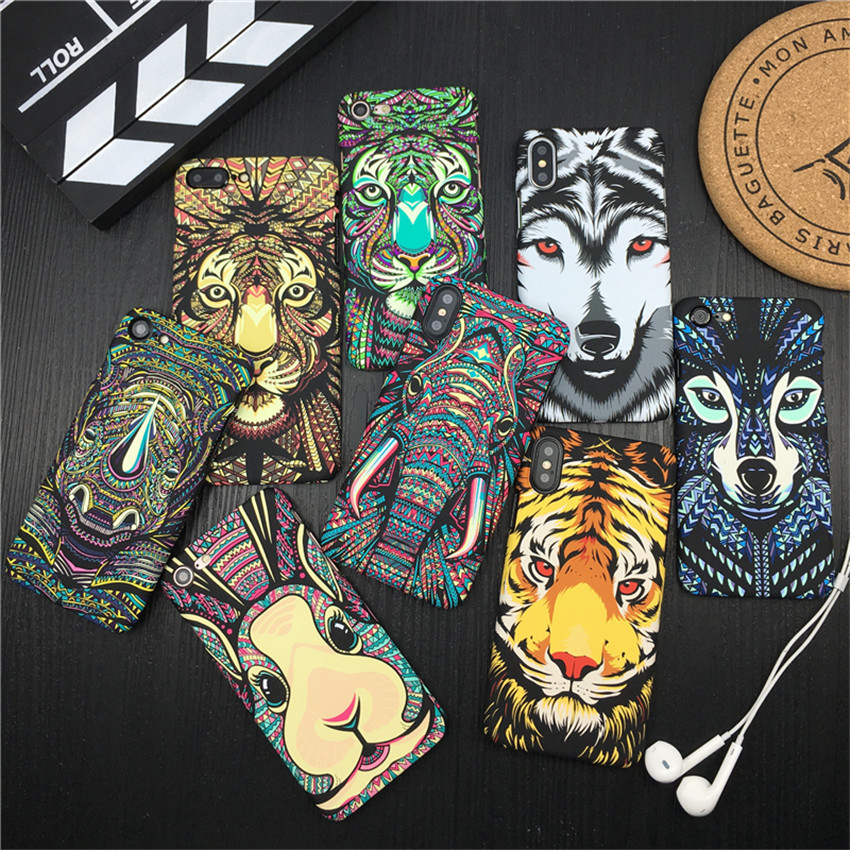<font><b>Luminous</b></font> for <font><b>iPhone</b></font> 7 8 Plus X Phone <font><b>Case</b></font> King Animals Lion Wolf Owl Pattern Hard Cover Phone <font><b>Case</b></font> for <font><b>iPhone</b></font> 6S 6S Plus 7 8 X image