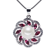 SNH AAA button 9mm 925 silver geunine freshwater pearl pendant for woman pearl jewelry necklace