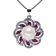 SNH AAA кнопку 9 мм серебро 925 geunine пресной воды перл подвеска для женщин ювелирные изделия перлы ожерелье