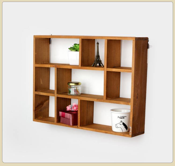 Buy 1pc Hollow Wooden Wall Shelf Storage