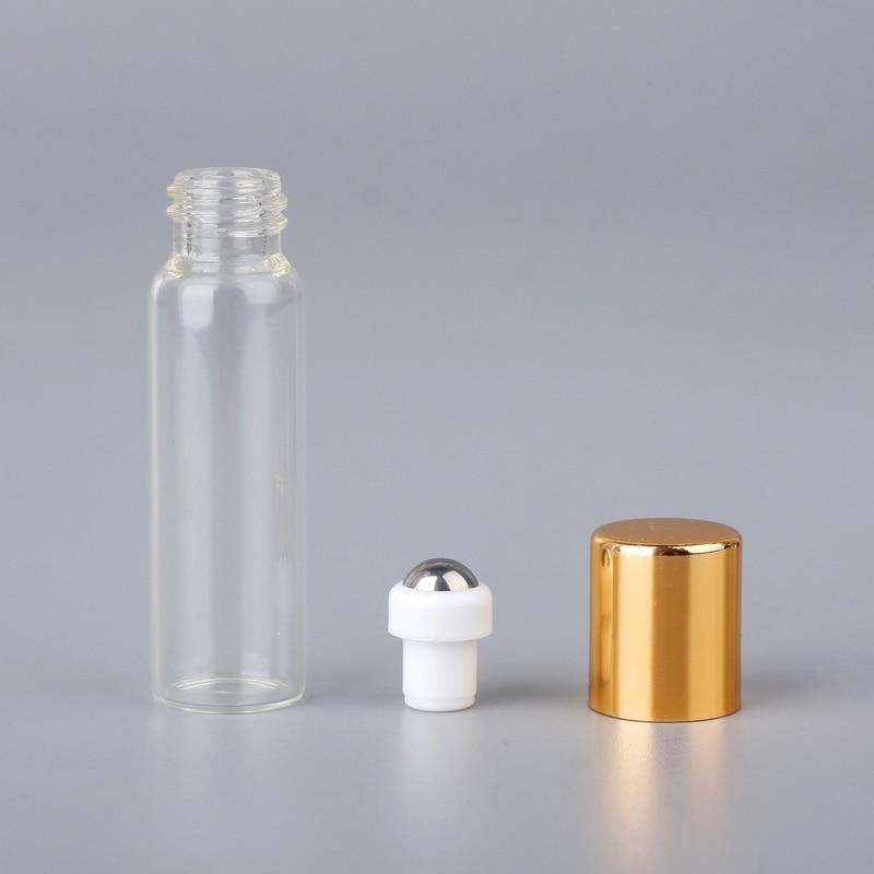 Güzellik ve Sağlık'ten Doldurulabilir Şişeler'de 100 adet/grup Mini Cam parfüm şişeleri Üzerinde Rulo Ile Boş kozmetik uçucu yağ Seyahat Için Cam Çelik Topu Silindir Şişe'da  Grup 3