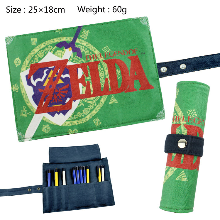 The Leagend Of Zelda Canvas Roll Up Pencil Bag Anime Pencil Case Kids Boy Gift Stationery School Supplies the pencil