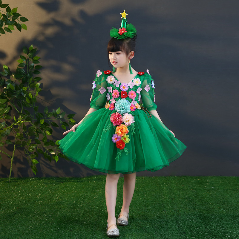 Free ship children's girls green fairy flowers princess dress with hair decoration cosply stage Halloween