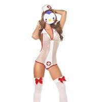 New Arrival Kobiety Kostium Pielęgniarki Charm Kostiumy Erotyczne Biały Mesh ciało Stocking Niegrzeczne Pielęgniarki Jednolite Głębokie V Szyi Kolorze Ciała jednolite