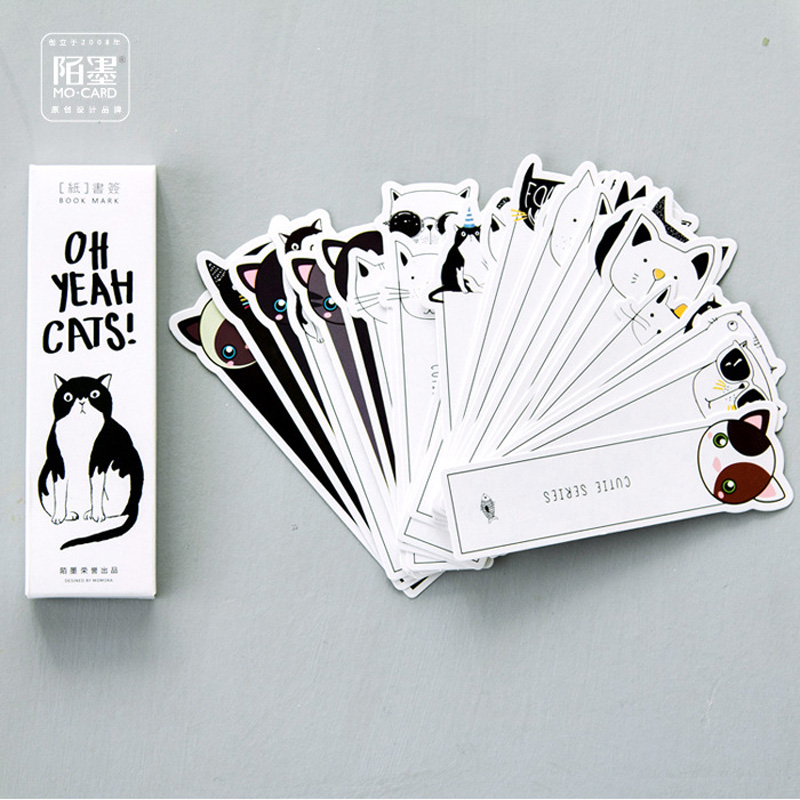 30pcs/pack Kawaii Cute Oh Yeah Cats Paper Bookmark Decorative Craft Marker of Page Stationery Gift Film Stick Label ...