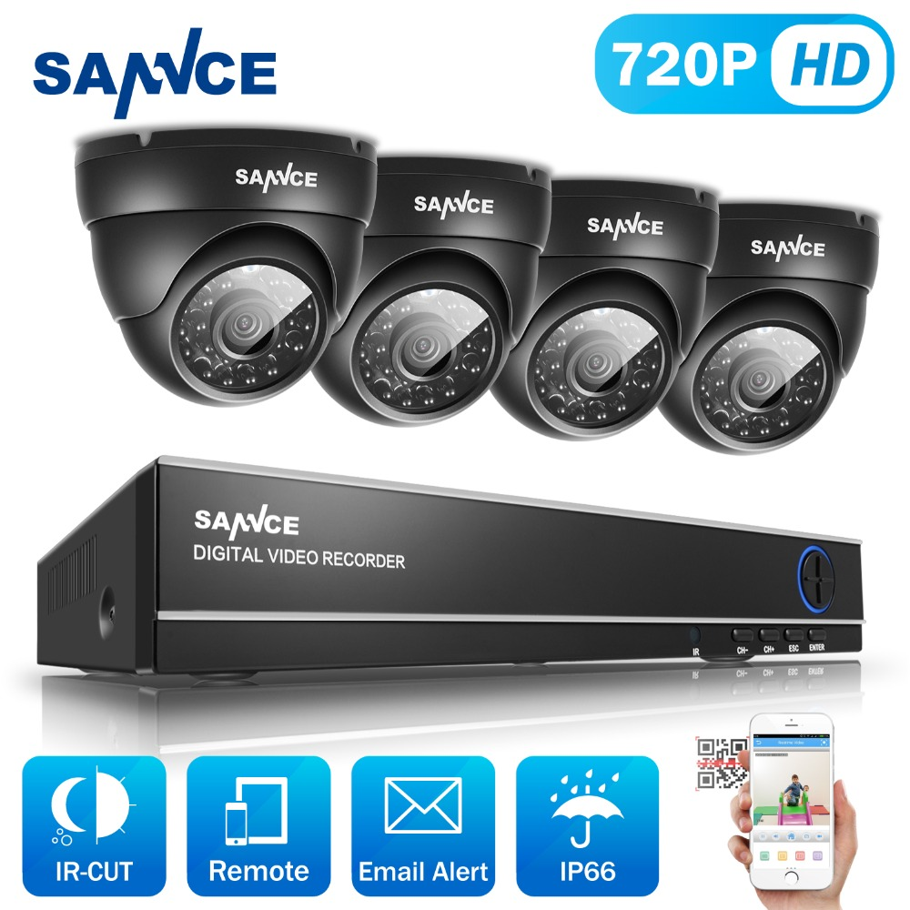 SANNCE 8CH CCTV Système 720 P DVR 4 PCS 1.0MP IR Intempéries Extérieure de Surveillance Vidéo de Sécurité À Domicile Caméra Système 8CH DVR Kit
