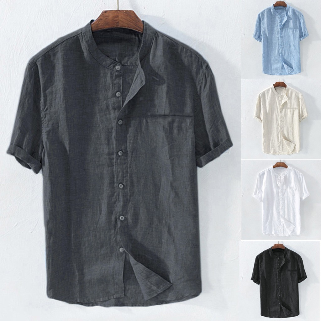 Men's Baggy Cotton Blend Solid Color Short Sleeve Retro Shirts Tops Blouse Slim Fit Male Mens Ethnic Printed Stand Collar