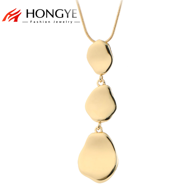 Top Quality Luxury Simple Jewelry Gold Silver Color Round Oval Alloy Drop Long Necklace Pendant Women Collares Largos