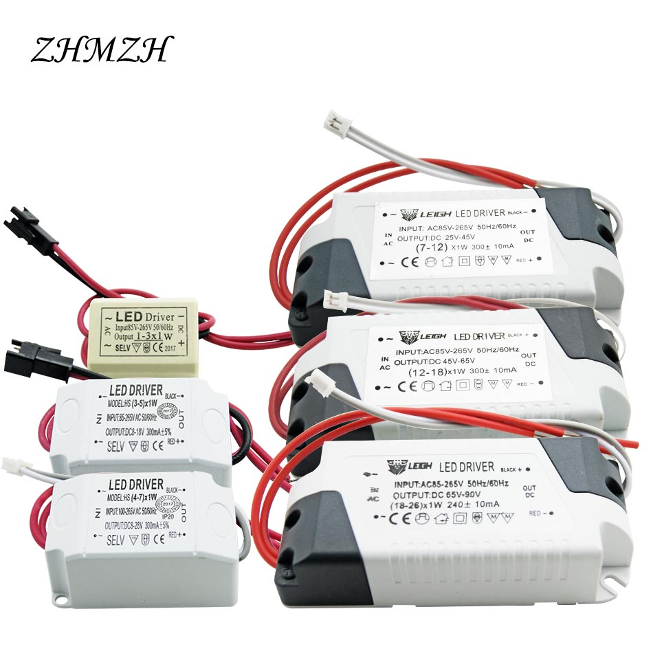 220V LED Constant Current Driver 1-3W 4-7W 7-12W 12-18W 26-36W 37-50W Power Supply Output 300mA External Drive For LED Downlight