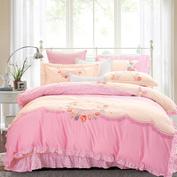 White Ruffle bedding sets cotton 4pcs Princess duvet cover girls bedspread bed skirt pink Embroidery bedclothes set