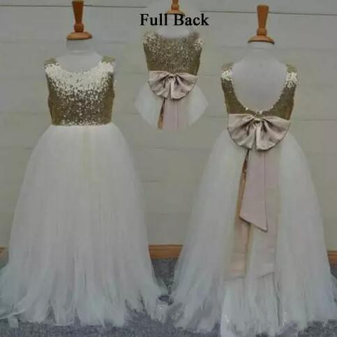 Real Sample High Quality Flower Girls Dresses Sparkly Gold Sequins Kids Long Formal Wedding Party Gowns Sleeveless Open Back camino real gold купить грн