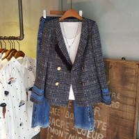 2019 Spring Autumn New Plaid Pearl Buttons Blazer Fashion High Quality Women Notched Collar Tweed Suit Jacket Cardigan Outerwear
