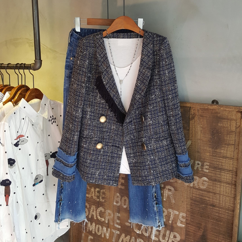 2020 Spring Autumn New Plaid Pearl Buttons Blazer Fashion High Quality Women Notched Collar Tweed Suit Jacket Cardigan Outerwear