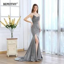 Vestido de festa длинное платье русалки для выпускного вечера с разрезом из серебристой блестящей ткани сексуальные вечерние платья с v-образным вырезом горячая распродажа