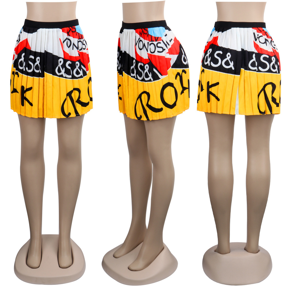 d6b079ff1d 2019 women new summer vintage cartoon letter print high waist above knee  mini pleated skirts retro fashion skirt outfit Z022 ~ Best Seller July 2019