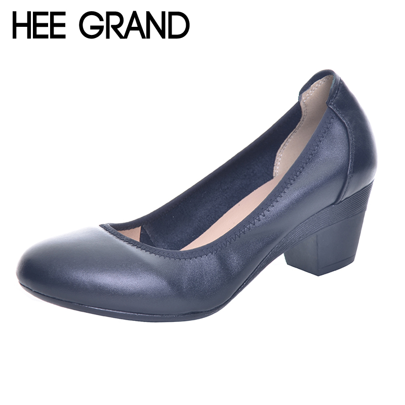 HEE GRAND Super Soft Flexible Pumps Shoes Women Clasiscal OL Pumps Spring Med Heels Offical Shoes Size 32-43  XWD2516