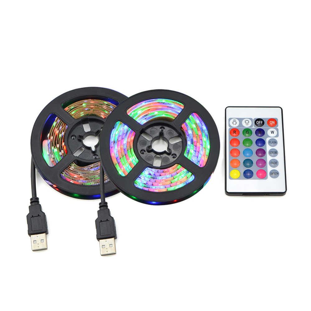 5 V Lampu Strip LED USB 5 V RGB TV Backlight 2835 50 CM 1 2 3 4 5 M Lampu lampu dengan Ir Kontrol untuk Desktop PC Lampu Tape Diode Pita