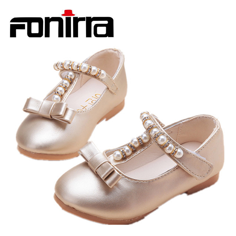 New Children Fashionable Bownet Rhinestone Shoes Breathable Girls Soft Princess Party Flat PU Leather Casual Shoes 238