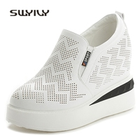 SWYIVY Casual Shoes Woman 2018 Platform White Shoes Sneakers Woman 10 Cm Wedge Breathable Woman Casual