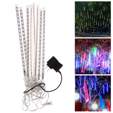 30cm 144LED Light Meteor Shower Rain 8 Tubes Snowfall Tree Garden Festival Party Decoration Lighting