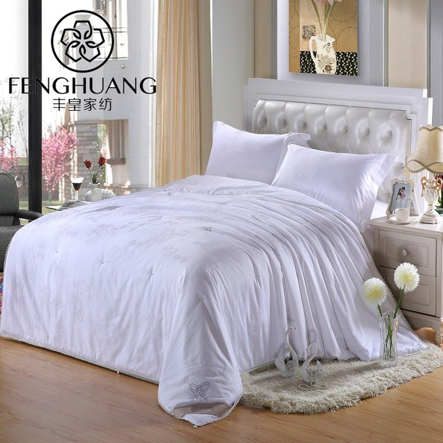 F H Pure Mulberry Silk Quilt Natural Filled Summer Blankets Duvet Chinese Silkworm White Pink Comforter