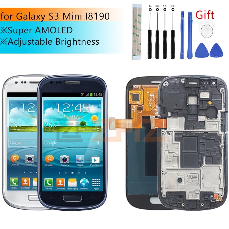 Super amoled para samsung galaxy s3 mini display lcd i8190 tela de toque digitador assembléia GT-i8190 i8195 i8200 peças reparo