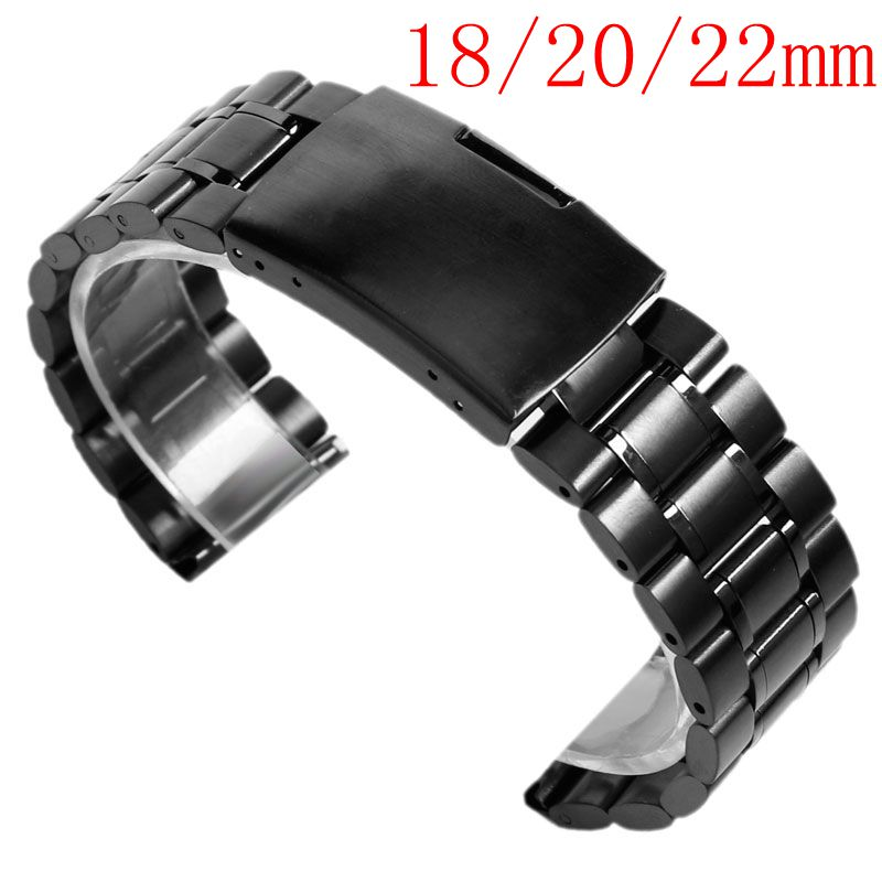 18/20/22mm Men Stainless Steel Bracelet Solid Link Wrist Band Watch Strap Replacement Fold Over Clasp Silver/Black/Gold 16 18 20 22 mm silver black gold rose gold ultra thin mesh milanese loop stainless steel bracelet wrist watch band strap belt