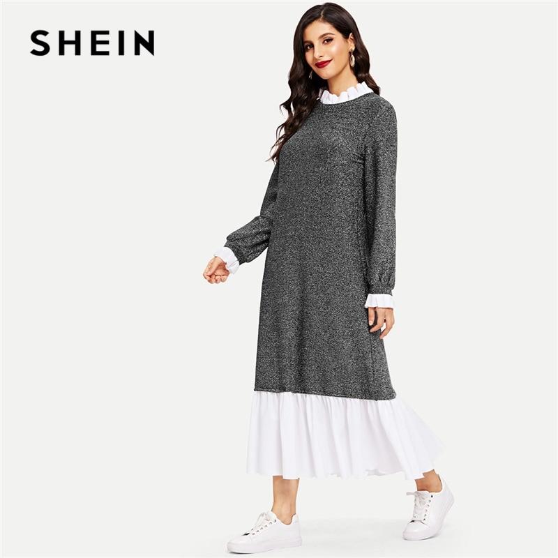 b61fb84293 SHEIN Grey Modern Lady Ruffle Trim Glitter Hijab Stand Collar Drop Waist  Dress Casual Elegant Women