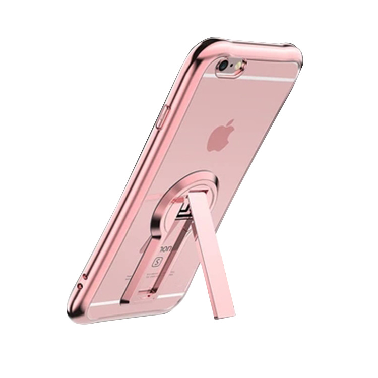 Plating phone case For iphone6 6s 6plus 6splus 7 7plus case with Support TPU back cover and transparent case +screen glass