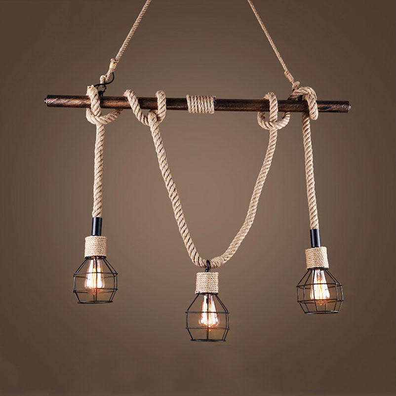 American wind industry retro loft chandelier clothing store restaurant living room bar cafe pendant lamp art pipe rope light цена 2017