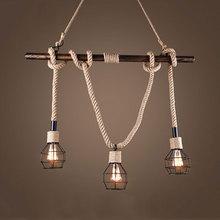 American wind industry retro loft chandelier clothing store restaurant living room bar cafe pendant lamp art pipe rope light