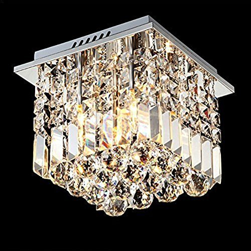 Modern Square Ceiling Light With K9 Crystal for Bedroom Lighting,Led Ceiling Lamp Kitchen Hanging Lamp E14 Bulb ZXD0030 noosion modern led ceiling lamp for bedroom room black and white color with crystal plafon techo iluminacion lustre de plafond