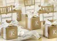 100pcs Lot Chair Shaped Wedding Favor Candy Box Party Gift Boxes In Gold Color With Ribbon
