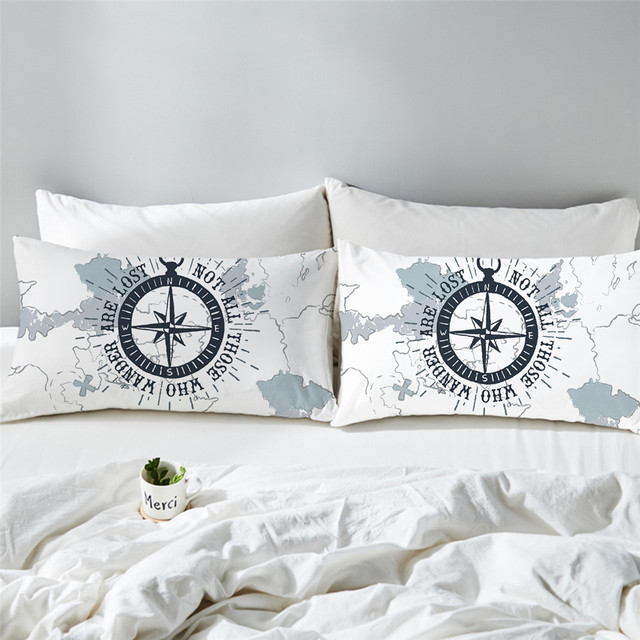 Compass Printed Pillow Cases